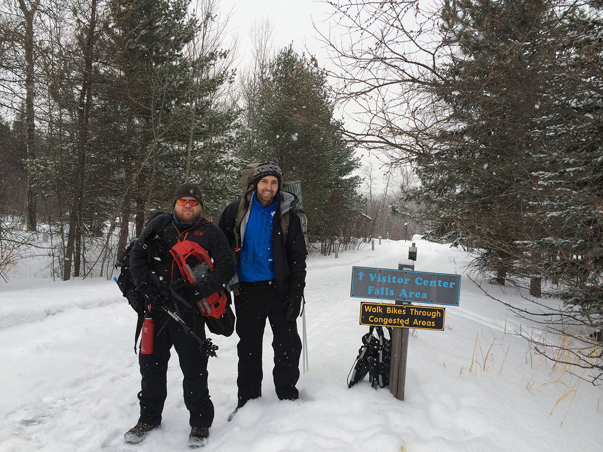 Winter hiking at Gooseberry Falls