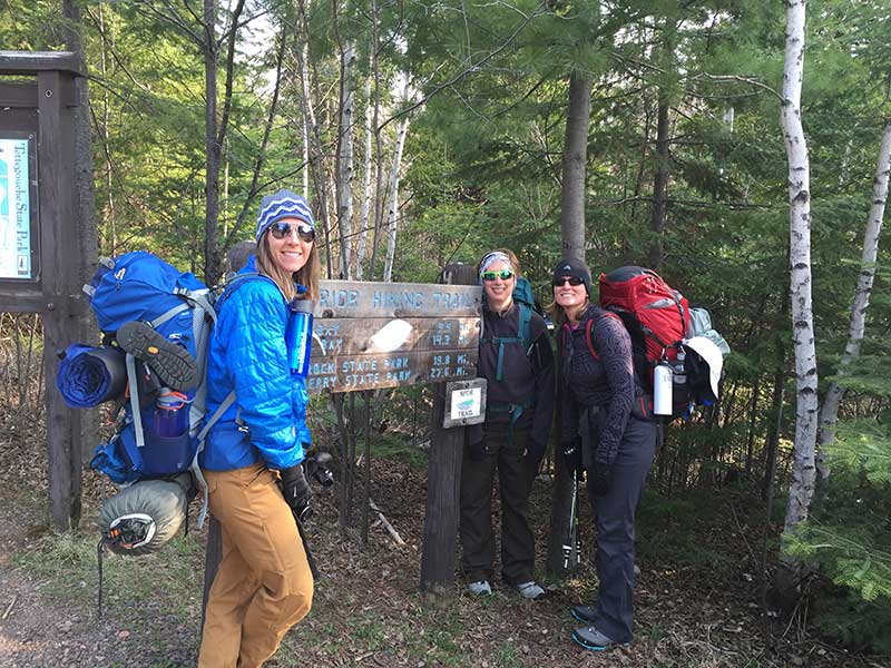 Hikers at Tettegouche Trailhead